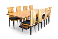 dining table with eight chairs (set of 9) by eliel saarinen