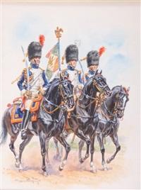 officier et militaire à cheval - deux by eugene lelievre