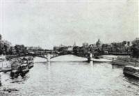vue de paris, le pont des arts by charles andre igounet de villers