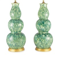 triple-gourd vase lamps (pair) by john boone