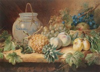 still life of a blue and white vase, a pineapple, grapes, apples and pears by valentine bartholomew