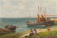 unloading the catch on the fife coast by alexander young