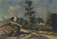 a landscape with chickens nearby a house by henri van lerven