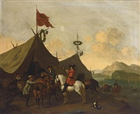 soldiers resting outside their encampment in an italianate landscape (+ a cavalry battle scene in an italianate landscape; pair) by evert oudendyck