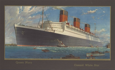 """""""r.m.s. queen mary,"""" cunard white star line by william mcdowell"""