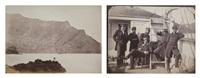 baie de juan-fernandez (île de robinson crusoé, chili); officiers de marine à bord (2 works) by paul-emile miot