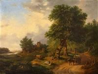 landschaft mit hirten und pferdewagen by hendrik barend koekkoek