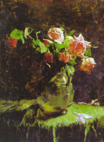 still life with roses in a pitcher by harold l macdonald