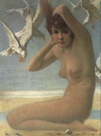 kvinde og m+ger på stranden by peter alexander hay