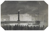 the stock exchange and rostral columns, st. petersburg, illuminated at night by ludwig franz karl bohnstedt