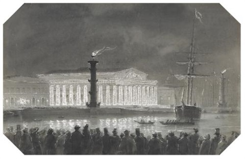 the stock exchange and rostral columns st petersburg illuminated at night by ludwig franz karl bohnstedt