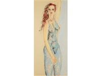 threequarter length portrait of a semi-nude woman with auburn locks by tom merrifield