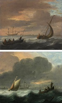 a small vessel running before a stiff breeze in a choppy sea and lowering sail, and a rowing boat (+ a smalschip close hauled and fishermen in a rowing boat pulling in nets in a choppy sea; pair) by abraham susenier