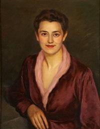 jeune femme en bordeaux by léonid frechkop