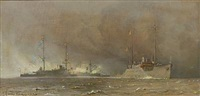 three seascapes with ships (3 works, some lrgr) by harry kluge