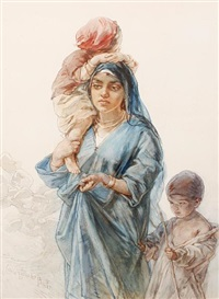 an egyptian mother and her children by guido bach