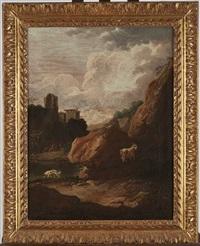 paysage de rochers avec une chèvre et un chien by philipp peter roos