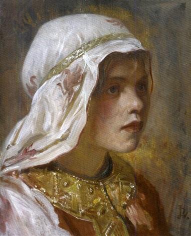 portrait de jeune femme habillée à lorientale by jean paul laurens