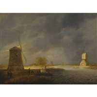 a landscape with windmills by a waterway by maerten fransz van der hulst