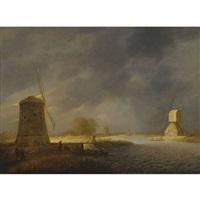 a landscape with windmills by a waterway by maerten fransz van der hulst
