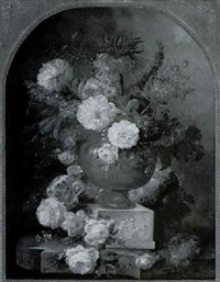 still life of flowers and a nest on a marble ledge by francois gabriel