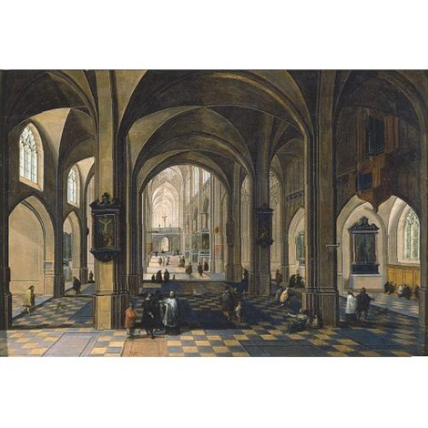 the interior of a gothic cathedral with figures by peeter neeffs the elder