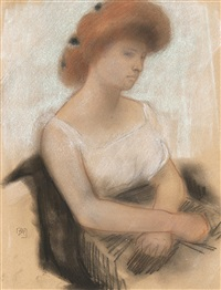 jeune femme assise by armand rassenfosse