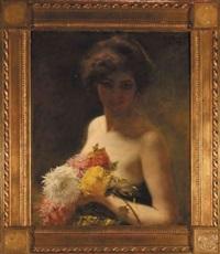 kobieta z chryzantemami by sigismund andrychiewicz