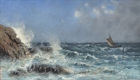 sailing boats in rough seas by frithjof smith-hald