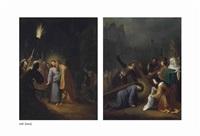 the betrayal of christ; christ on the road to calvary, with saint veronica (2 works) by dirck dircksz van santvoort