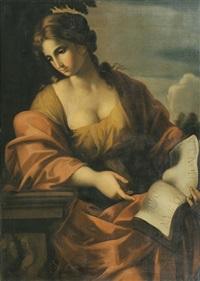 junge frau mit geöffneten buch. vermutlich personifikation der reue oder buße by giovanni francesco romanelli