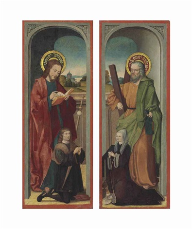 saint james with a male donor saint andrew with a female donor pair by bartholomaus barthel bruyn unattributable