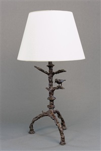 special pair of lost wax bronze table lamps by diego giacometti