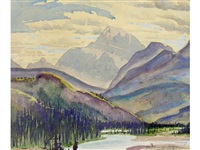untitled - river through the mountains by joseph ernest sampson