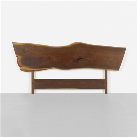 plank headboard and platform bed by george nakashima