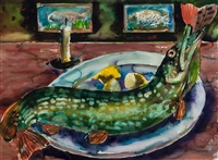 still life with pike by marcus harvey
