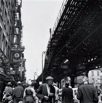 under the el at the bowery, new york by berenice abbott