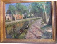 lavandière au bord de la rivière by joseph sauvage jousse