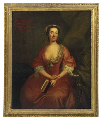 portrait of mary thomas second wife of philip bartholomew in a pink dress with a lace collar and sleeves seated in an interior holding an open book by john wollaston