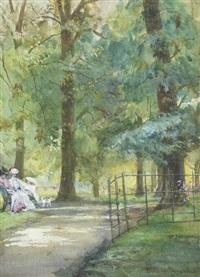 resting by the park path by blanche f. macarthur