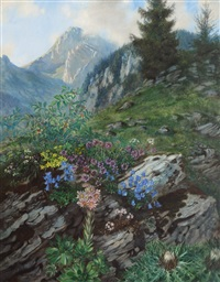 flower meadow in the alps by ludwig bartning