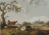 a dune landscape with a peasant guarding his cattle and sheep by fredericus theodorus renard