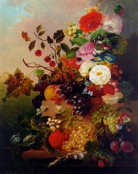 poppies, peonies, roses and other flowers with grapes, cherries, and plums on a marble ledge by jan van der waarden