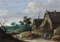 paysans discutant devant une ferme by thomas van apshoven