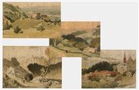 landscapes (irgr; set of 4) by adolphe valette