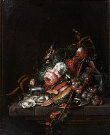 nature morte dhuîtres raisins melon cerises et roses sur un entablement by cornelis de heem