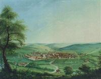 blick auf eine landschaft mit einem dorf und eine klosteranlage by melchior seltzam