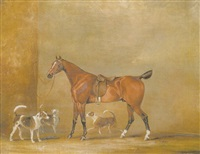 a saddled bay hunter with three hounds by samuel alken sr.