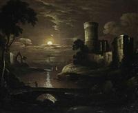vue d'un château au coucher de soleil by jacobus theodorus abels