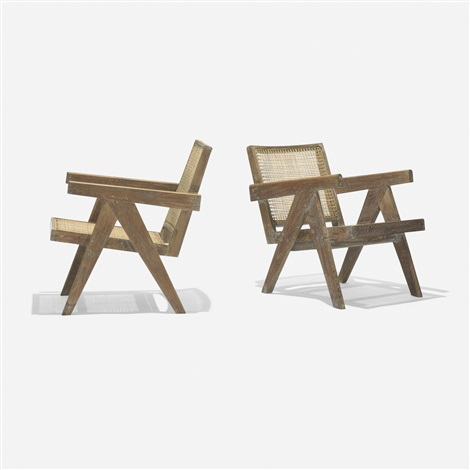pair of lounge chairs from chandigarh pair by pierre jeanneret